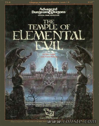 T1-4 Temple of Elemental Evil by Gary Gygax with Franck Mentzer (super-module) TSR, Inc., 1985